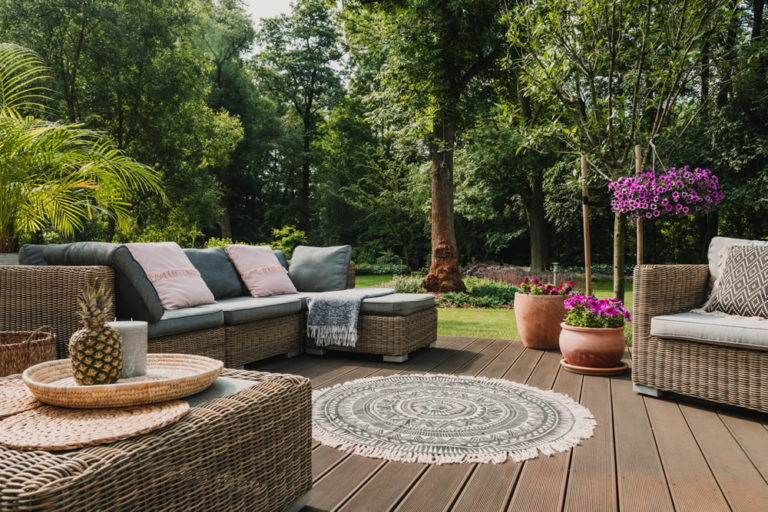 oak style composite decking on patio