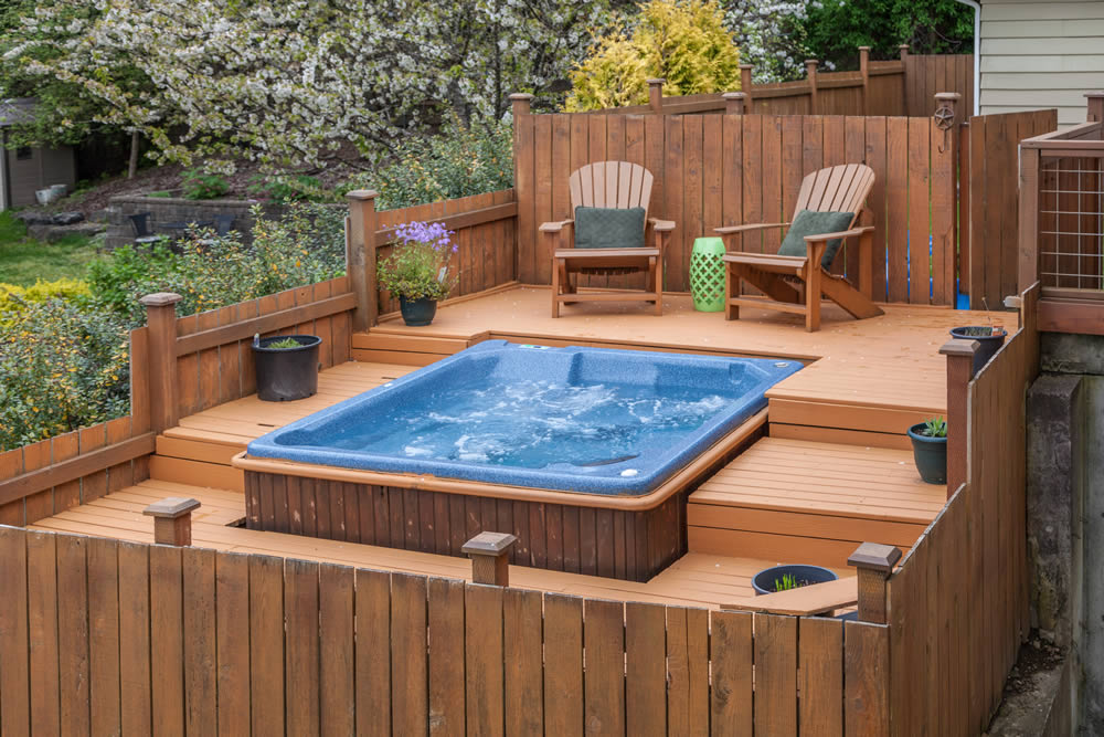 hot tub on composite decking