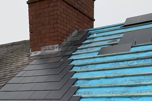 roofing membrane exposed