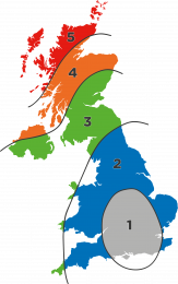 Map of the UK showing the wind pressure zones
